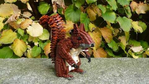 life size lego brick squirrel creation