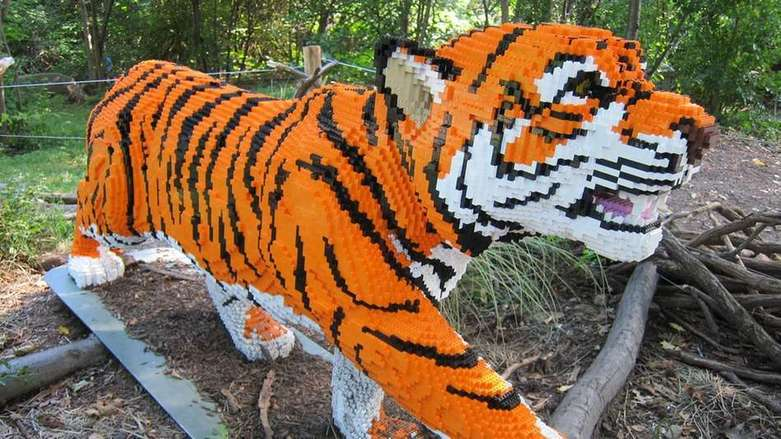 lego brick life size tiger creation